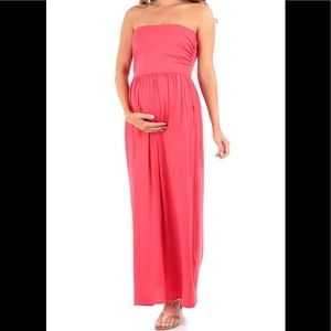 NWOT-Rags&Couture Strapless Ruched Maxi Maternity